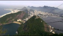 Shot of cable car going down the mountain in Rio de Janeiro, Brazil