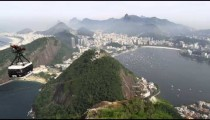 Gondola going up the side of Sugarloaf Mountain in Rio de Janeiro, Brazil