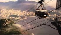 Gondola ascending Sugarloaf Mountain on a foggy day in Rio de Janeiro, Brazil
