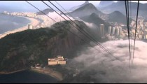 Slow pan of mist over the city in Rio de Janeiro, Brazil