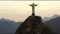 Tracking shot of Christ Redeemer statue on Corcovado Mountain in Rio de Janeiro, Brazil