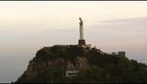 Aerial tracking shot of Christ the Redeemer statue in Rio de Janeiro, Brazil