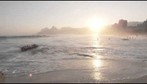 Slow motion shot of beach at sunset