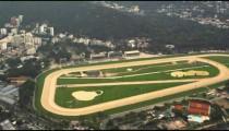 Aerial tracking shot of Jockey Club brazileiro in Rio de Janeiro, Brazil