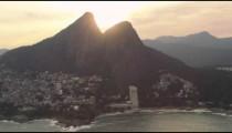 Lens flare aerial shot of Rio de Janeiro coastline in Brazil