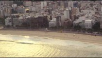 Aerial shot of beach and the city of Rio de Janeiro, Brazil