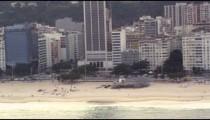 Helicopter flight along the beach in Rio de Janeiro, Brazil