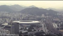 Panning footage of Rio from helicopter