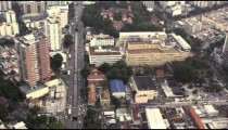 Slow aerial footage of downtown Rio