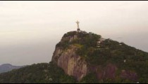 Tracking footage of Christ statue atop Corcovado