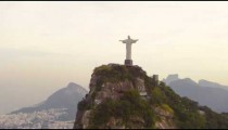 Tracking shot of Christ statue atop Corcovado