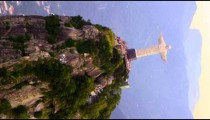 Tracking aerial footage of Christ statue - horizontal