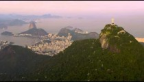 Aerial panorama of Rio de Janeiro, Christ on Corcovado