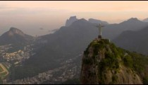 Aerial panorama of city, Christ statue atop Corcovado