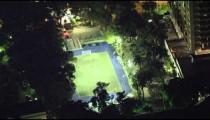 Short clip of a birds eye view of a late night soccer stadium in Rio de Janeiro