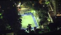 Longer clip of a birds eye view of a late night soccer stadium in Rio de Janeiro