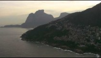 Aerial shot of the vidigal favela and the do irmaos mountains