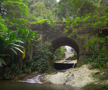 tracking-shot-of-jungle-stream-waterfall-seen-through-stone-arch-2
